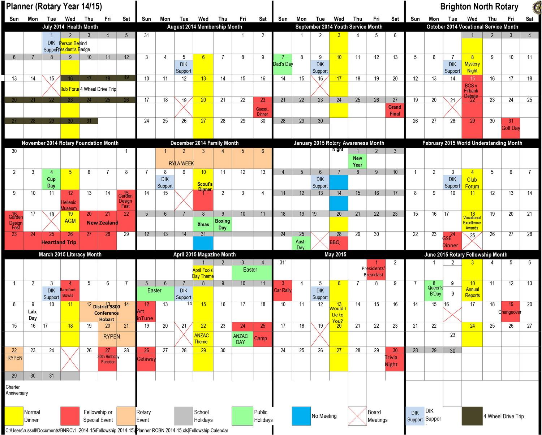 Detailed Calendar for Brighton North